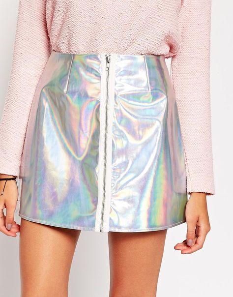Image 3 - ASOS - Minijupe zippée sur le devant à motif hologramme