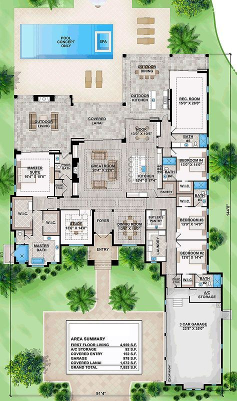 Mediterranean Style House Plan 52944 With 4 Bed 6 Bath 3 Car Garage Mediterranean Style House Plans Mediterranean House Plans Mediterranean House Plan