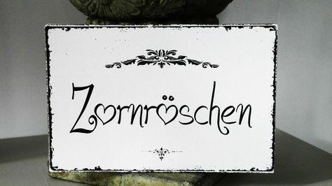 Shabby Vintage Schild Nostalgie ZORNRÖSCHEN Landhaus weiss Türschild   Möbel & Wohnen, Dekoration, Schilder & Tafeln   eBay!