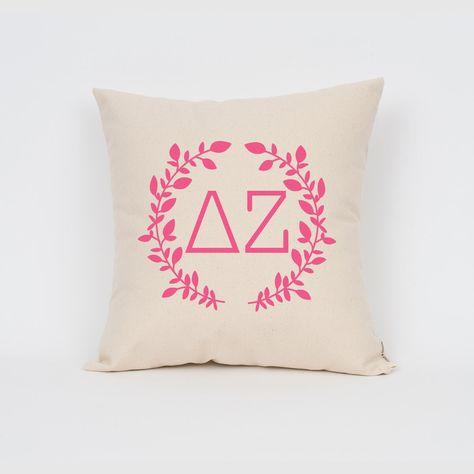 Delta Zeta Wreath Pillow // Choose Your Ink Color // Greek Letter Pillows…