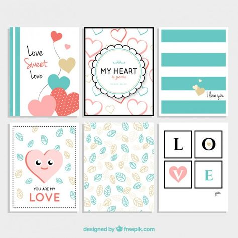 Lovely cards for valentine  Free Vector