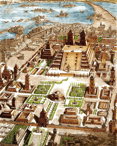 aztec Tenochtitlan, Aztec City-state poster by Science Source.Our posters are produced on acid-free papers using archival inks to guarantee that they last a lifetime without fading or loss of c Aztec Architecture, Ancient Architecture, Fantasy Art Landscapes, Fantasy Landscape, Design Set, Art Design, Aztec City, History Posters, Mayan Cities