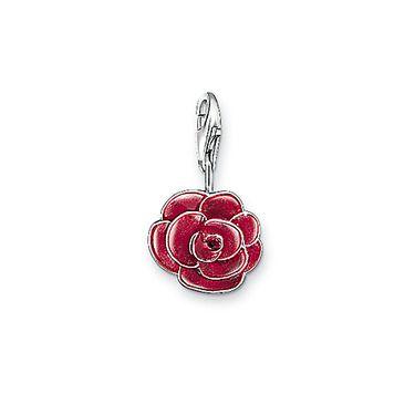 Thomas Sabo Women-Charm Pendant Rose Charm Club 925 Sterling Silver red 0697-007-10 eMhGOJt