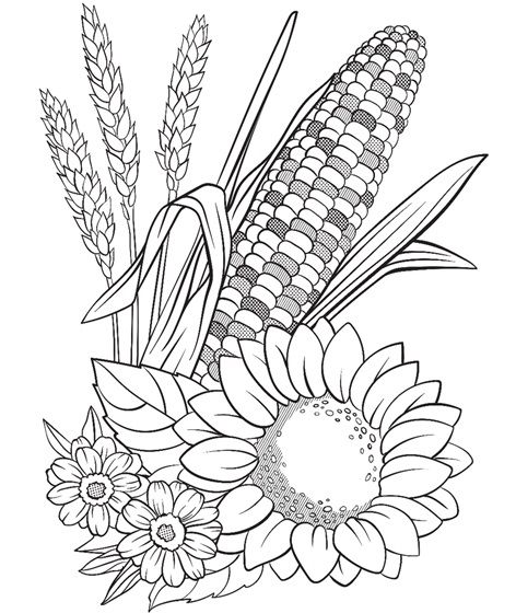 Corn And Flowers Coloring Page Crayola Com Flower Coloring Pages Thanksgiving Coloring Pages Fall Coloring Pages