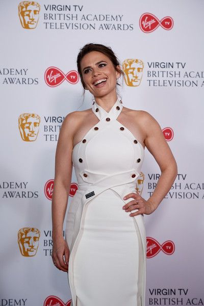 Hayley Atwell poses in the press room at the Virgin TV British Academy Television Awards.