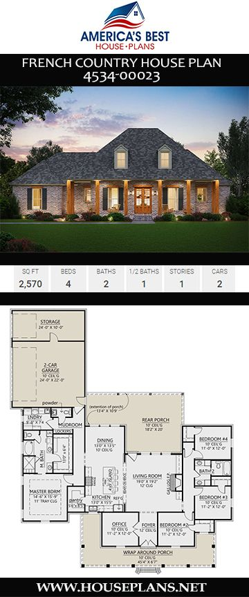 House Plan 4534 00023 French Country Plan 2 570 Square Feet 4 Bedrooms 2 5 Bathrooms In 2020 French Country House Plans French Country House Porch House Plans