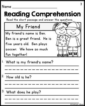 Kindergarten Reading Comprehension Passages Set 1 Freebie With