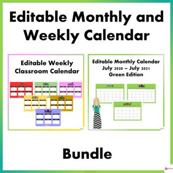 Editable Monthly And Weekly Calendar Bundle Editable Monthly