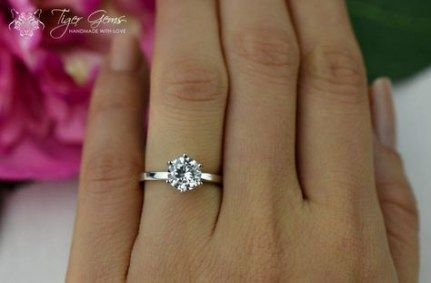 40/% Final Sale Classic Solitaire Engagement Ring Wedding Ring Round Man Made Diamond Simulant Sterling Silver 12 ct Promise Ring