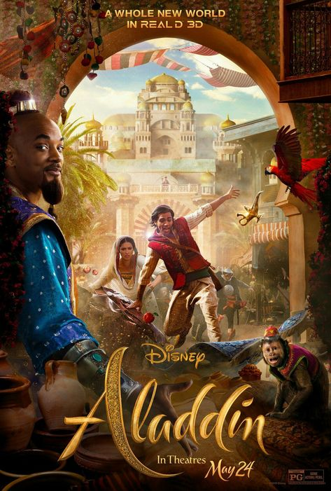 New oficial Real D 3D poster for the new live-action version of Disney's ALLADIN (2019)