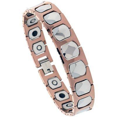"Faceted Square Links Rose /& Black 8/"" Tungsten Carbide Magnetic Bracelet,2-Tone"