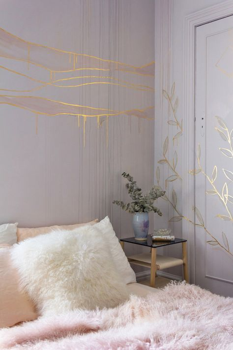Gold Leaf Feature Wall In Cosy Bedroom The Bed Is Made With