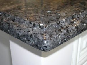 Black Grey Granite Countertop Paired With White Cabinets Actually Had This Type But I Dont Recommend The Bevel As It Seems Like A Glass Break
