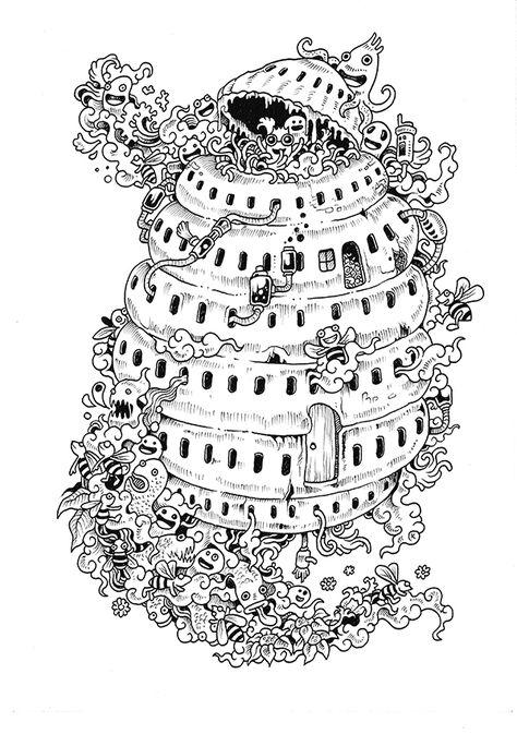 Doodle invaze omalovánky na Behance