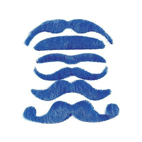 12 Stick on Self Adhesive Mustaches Blue