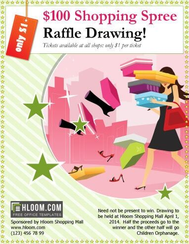 Shopping Spree Raffle Drawing Flyer Template Free Raffle Raffle Tickets Template Raffle Ticket Template Free