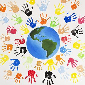 Diversity Wall Art Painting One World By Tim Gainey Hand Art Projects School Wall Art Art Classroom