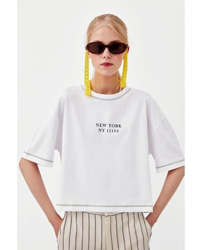 e93fc97937 Image 2 of SLOGAN T-SHIRT WITH CONTRASTING TOPSTITCHING from Zara ...