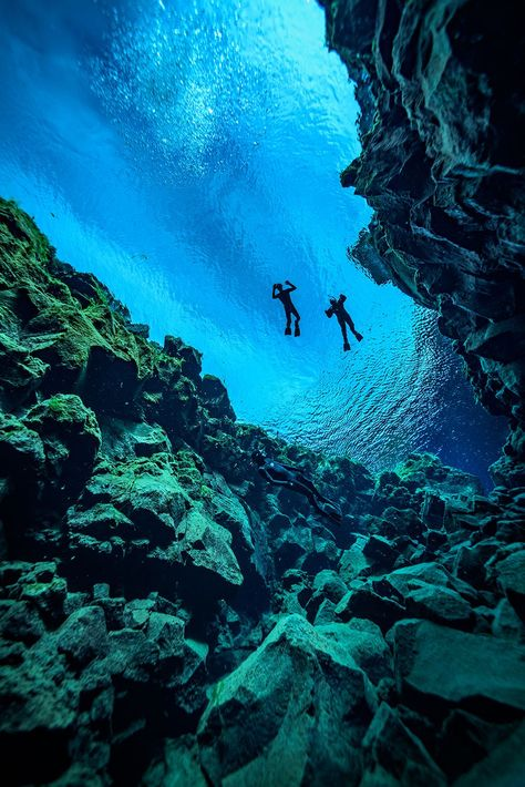 Scuba divers explore the watery expanse of Iceland's Silfra rift.