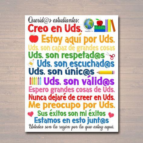 Spanish Dear Students Classroom Teacher Poster Sign