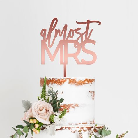 Almost Mrs Bridal Shower Cake Topper Bridal Shower Planning, Bridal Shower Cakes, Gold Bridal Showers, Bridal Shower Party, Bridal Shower Decorations, Birthday Decorations, Engagement Cake Toppers, Custom Wedding Cake Toppers, Wedding Cakes