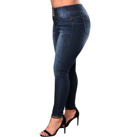 2763dbfe6a235 Anself Mid Waist Femme Jeans Plus Size 5XL 4XL XXXL Pencil Pants 2018  Spring Autumn Casual Jeans Women trousers Denim Pants