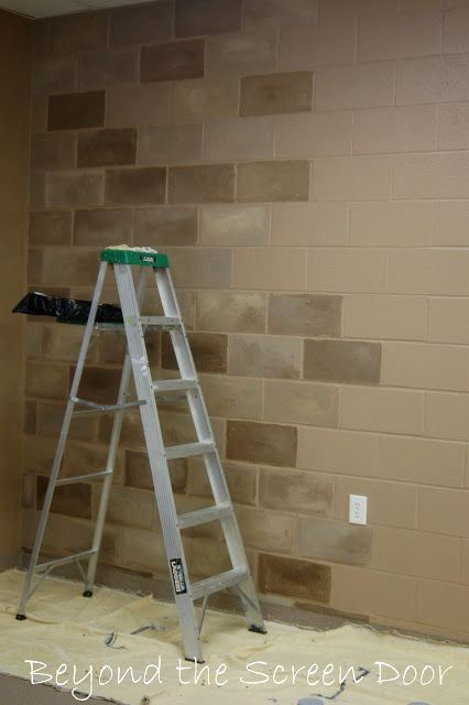 This Stone Wall Is Actually A Concrete Block Wall Painted To Look Like Stone For Trinity Worship Concrete Block Walls Basement Remodeling Basement Renovations