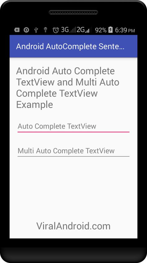 Android Auto Complete using AutoCompleteTextView and