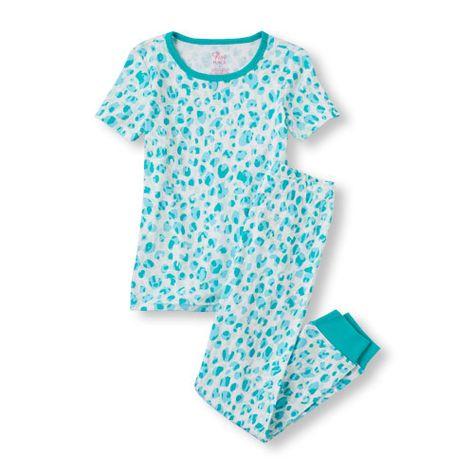 3559f15df Baby Girls Short Sleeve Leopard Print Pj Set - Green - The Children's Place