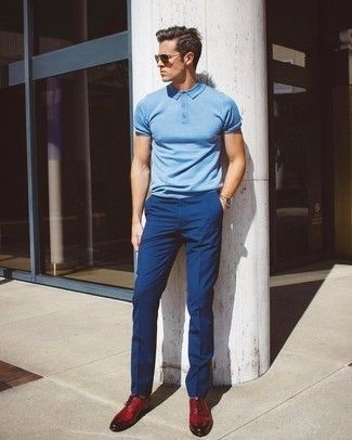 Reach for a light blue polo and navy dress pants if you're going ...