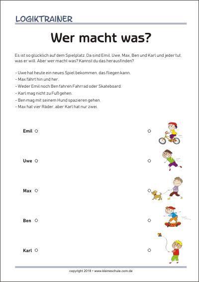 Der Logiktrainer Ist Ein Ratselspass Fur Kinder Der Ihnen Hilft Logisches Denken Und Kombinatorik Zu Kombinatorik Kreuzwortratsel Fur Kinder Text Auf Deutsch