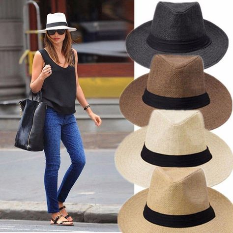 Men Women Fedora Panama Wide Brim Trilby Straw Cap Sun Hat Beach Summer Sunhat #womensfashionforsummertravel