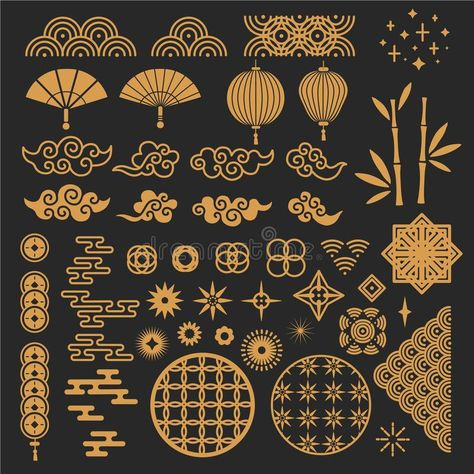 Chinese New Year Elements. Golden Asian Traditional Pattern, Cloud And Decorative Flower. Oriental Lanterns, Bamboo Stem Stock Vector - Illustration of lamp, culture: 166157846 Art Deco Illustration, Creative Illustration, Pattern Illustration, Graphic Design Illustration, Graphic Design Art, Motif Oriental, Oriental Design, Oriental Pattern, Poster Background Design