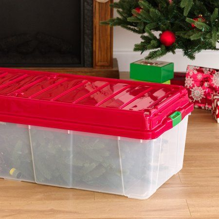 Iris Holiday Tree Storage Tote With Compartment Lid Red Walmart Com Tote Storage Christmas Tree Storage Plastic Christmas Tree