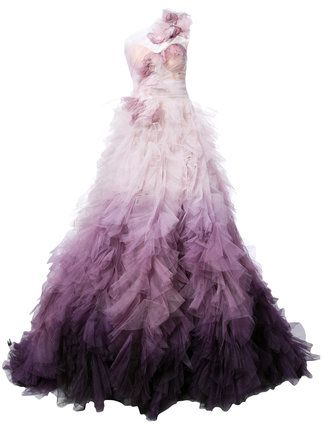 Marchesa One Shoulder Ombre Tulle Gown Tulle Gown Gowns Purple