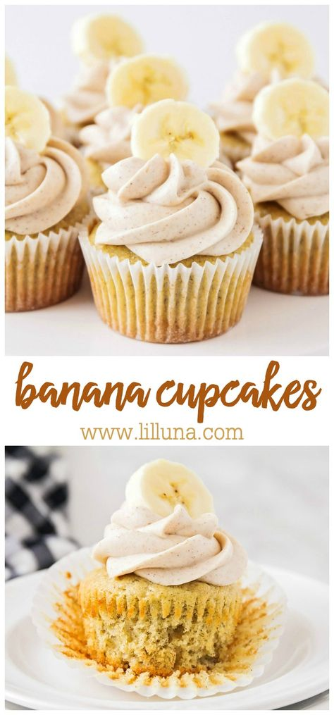 banana dessert recipes These Banana Cupcakes are so SOFT and have a delectable hint of cinnamon. They are also topped with a delicious cinnamon cream cheese frosting, making them Food Cakes, Cupcake Cakes, Easy Cupcake Recipes, Easy Cheesecake Recipes, Cake Recipes Without Oven, Easy Vanilla Cake Recipe, Simple Cupcake Recipe, Baking Recipes Cupcakes, Cupcake Recipes From Scratch