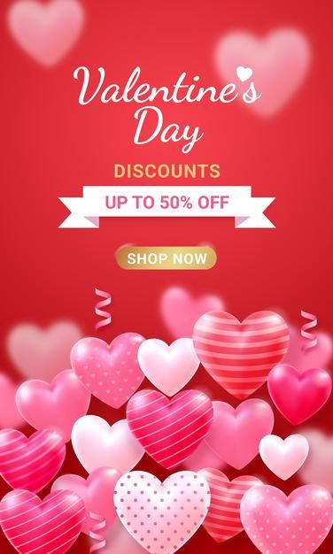 Valentine S Day Card With Heart And Ribbon Background In 2021 Valentines Happy Valentines Day Party Invite Template