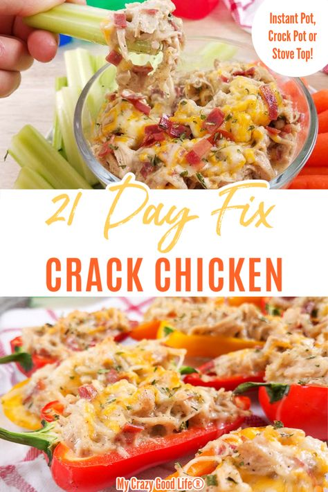 Recipes Quick This Healthy Crack Chicken is 21 Day Fix approved and so delicious! It can be easily made in the Instant Pot, Crock Pot or on the stove top! Quickly make this tasty recipe as a healthy appetizer or family-friendly dinner! 21 Day Fix 21 Day Fix Diet, 21 Day Fix Meal Plan, Eating Out On 21 Day Fix, 21 Day Fix Snacks, Healthy Appetizers, Healthy Dinner Recipes, Eat Clean Recipes, Keto Snacks, Quick Crock Pot Recipes