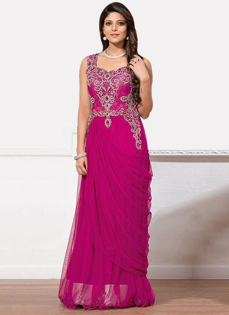 Magenta Net Draped Gown   Indian clothes I like   Pinterest   Gowns ...