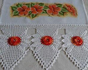 Pano De Prato Com Florzinha Laranja Bico De Croche Panos De