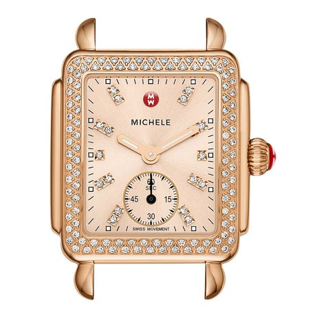 Deco 16 Diamond Rose Gold, Beige Diamond Dial Watch Head