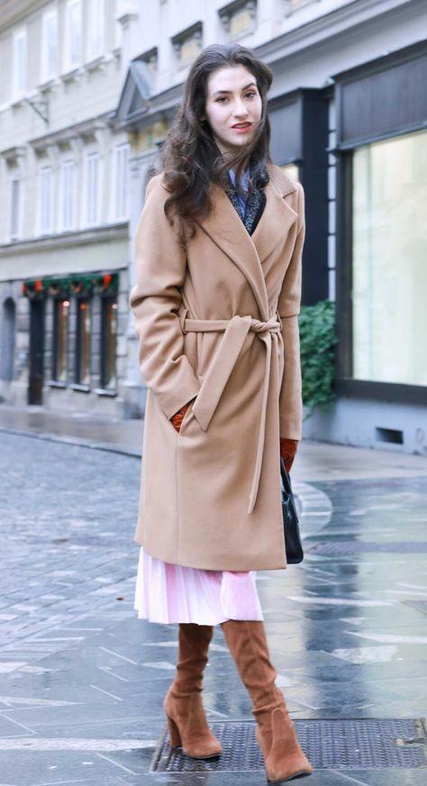 f36d77d21a Fashion Blogger Veronika Lipar of Brunette from Wall Street wearing elegant  outfit, ESCADA wrap camel