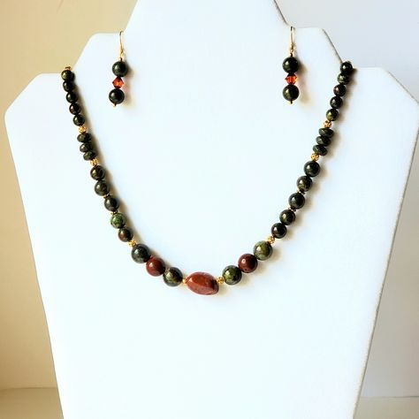 Brown goldstone and jasper necklace bracelet and earrings to match Really pretty combination.