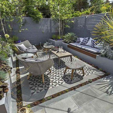 DIY panneau bois extérieur gris salon jardin moderne tapis ...