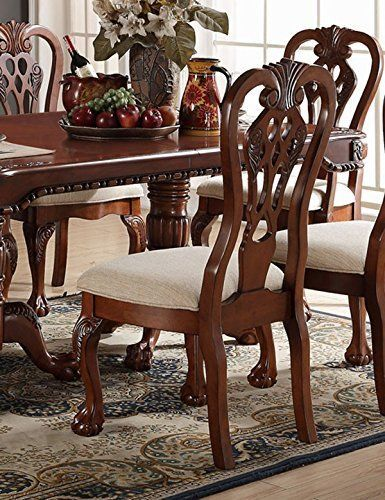 Set Of 2 Cherry Dining Chairs In Upholstered With A Cream Seat Cushion Side Chairs Dining Dining Chairs Wood Side Chair