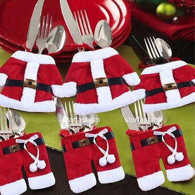 Party Christmas Decorations Santa Suit Tableware Holders Pockets Dinner Decor