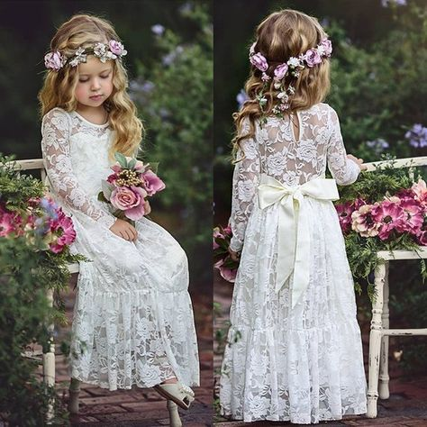 Boho Sweety Long Sleeve 2017 Sheath Flower Girls Dresses Jewel Illusion Sexy Back Empire with Bow Lace Appliques Floor-length Pageant Gowns Monsoon Flower Girl Dress, Simple Flower Girl Dresses, Boho Flower Girl, Lace Flower Girls, Lace Flowers, Vintage Flower Girl Dresses, Flower Girl Dresses Country, Lace Bows, Rustic Flower Girls