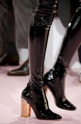 31fd94a936d Hot Blue Patent Leather Women Sexy Thigh High Boots Pointy Toe Colorful  Crystal Chunky Heel Knight Boot Over The Knee