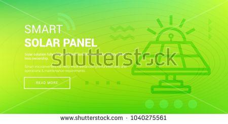 Vector Illustration Of Banner With Hi Tech Smart Solar Panel Icon On Green Background Green Energy Solar Energy Solar
