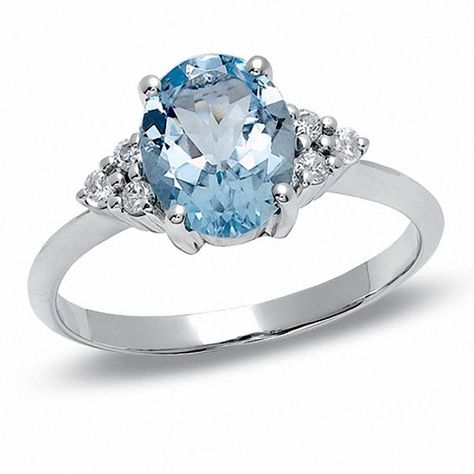 Oval Aquamarine And Diamond Ring In 10k White Gold Gold Rings Jewelry Fashion Rings Jewelry